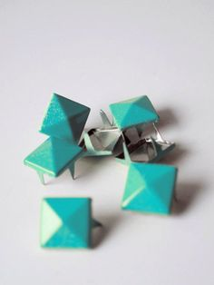 x Teal square studs mix of 2 and 4 by Catherine Trudel Design Studio Leather Cuffs, Custom Stickers, Diy Wedding, Craft Supplies, Studs, My Etsy Shop, Teal, Unique Jewelry, Handmade Gifts