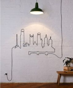 Skyline created with an electrical cord