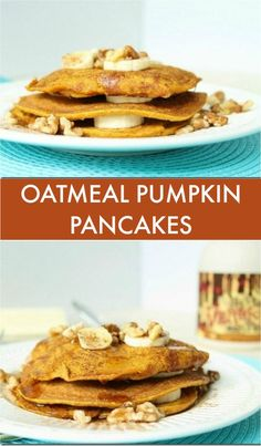 Oatmeal pumpkin pancakes are the perfect breakfast for 1 on a fall day.