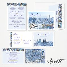 Barcelona Spain Destination wedding invitation set win blue colors illustrated wedding invitation