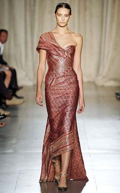 Marchesa Spring/Summer 2013 Saree inspired red brocade with golden embroidery evening gown