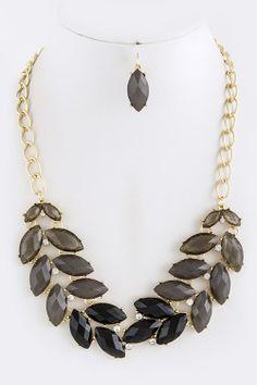 LEAF JEWEL LINKED NECKLACE SET  Sparkling Shimmers by Carolin #jewelry #necklace  $37.50
