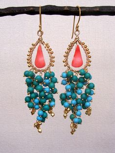 L a g u n a - 14k gold filled - vermeil - wire wrapped - turquoise - coral - chandelier earrings via Etsy