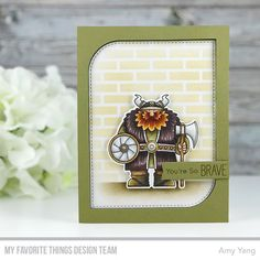 Stamps: Viking Die-namics: Viking, Stitched Mod Rectangle STAX, Blueprints 27 Stencil: Small Brick Wall  Amy Yang #mftstamps