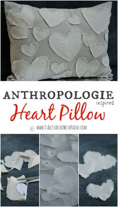 Anthropologie Heart Pillow knock-off with detailed instructions and free heart printable