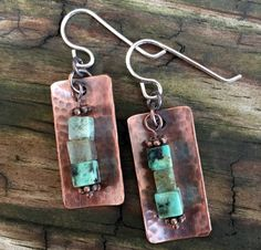 Copper and Green Square Bead Earring Sterling Silver Ear Wires