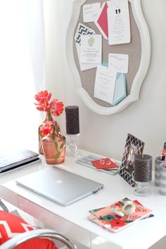 Love the pin board frame above the desk  desk styling idea #smpliving
