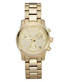 Michael Kors Watch, Women's Chronograph Runway Gold Tone Stainless Steel Bracelet 33mm MK5384