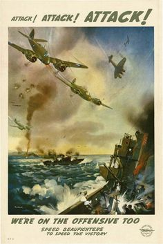 Pictorial showing Beaufighters attacking shipping. 'Speed Beaufighters to speed the Victory' Beaufort Division, Department of Aircraft Production.