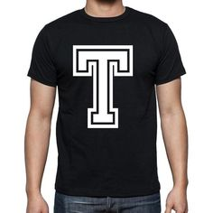 #T #letter #black #tshirt #men  A cool t-shirt with a magic touch! Shop online --> https://www.teeshirtee.com/collections/collection-1-letter/products/t-mens-short-sleeve-rounded-neck-t-shirt