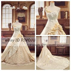 Mouse over image to zoom                Gold Roses Lace Wedding Dress 1m Cathedral Train Royal Bridal Ball Gown.  Just look at the intricate detail on this one.....