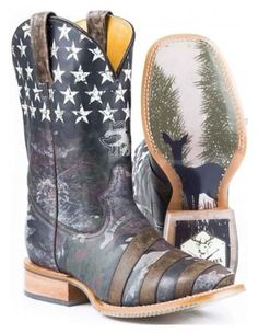 Tin Haul Men's Camo Flag Hunt Club Western Boot
