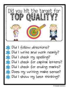 FREE from One Extra Degree on TpT. This file was made to complement my Writing on Target bundle. but it can be used independently. Use it as a checklist. Add it to a writing cent. Kindergarten Writing, Teaching Writing, Writing Activities, Teaching Resources, Literacy, Teaching Ideas, Classroom Posters, School Classroom, Classroom Ideas