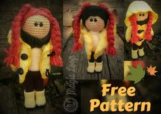 Autumn Doll - Free Crochet Amigurumi Pattern. This one, with her rain coat and boots, is ready for Autumn. Simple crochet stitches, beginner friendly