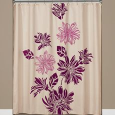 Flocked Floral Fabric Shower Curtain