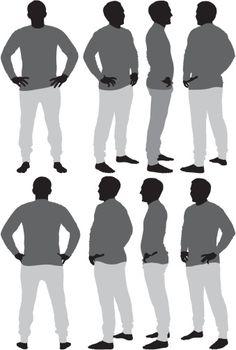 Vectores libres de derechos: Multiple images of a man standing…
