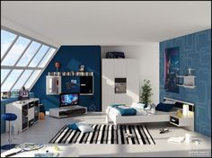 Furniture Inspiration , Furniture Design for Computers and TV Bedroom : Exciting Modern Kids Rooms Ideas Bedroom With Blue Wall White Cupboard White Pillows Tv Furniture Rack