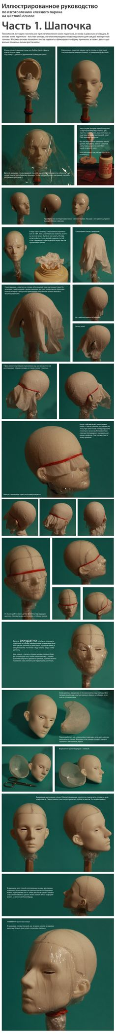 pictures - how to make a bjd wig  part 1  needs translation