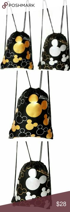 Mickey Mouse Drawstring Backpack (2- Pack) 1 Gold Drawstring Bag. 1 Silver Drawstring Bag. Disney Bags Backpacks