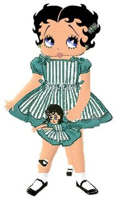 Little Betty and doll ~ #illustration #bettyboop ✿⊱╮