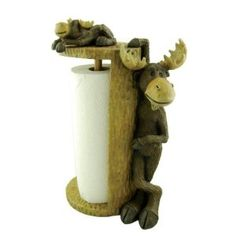 Perfect for your camp kitchen - this paper towel holder features a moose standing to hold the roll with a smaller moose on top. Fits a standard roll of paper towels. Log Cabin Kitchens, Moose Pictures, Moose Deer, Paper Towel Holder, Towel Holders, Log Furniture, Lodge Decor, Log Homes, Rustic Kitchen