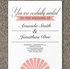 Free Peach Fan Wedding Invitation Template Pretty Simple And Elegant