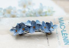 silver Hydrangea Barrette, hair clip, hair accessories , polymer clay flower, handmade jewelry, gift for her