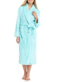 Kim Rogers August Aqua Folded Dot Wrap Robe