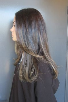 natural looking highlights dark brown hair - Google Search
