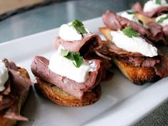 Roast Beef Crostini with Horseradish Cream    Why Everyone Will Love It: Spicy horseradish gives these warm appetizers a hearty kick. The combination of warm French bread toast and cool roast beef creates a party food that complements any gathering.