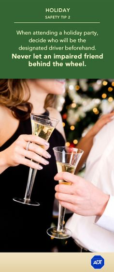 Holiday Safety Tip When attending a holiday party, decide who will be the designated driver beforehand. Never let an impaired friend behind the wheel. Adt Security, Security Service, Road Safety Tips, December Holidays, Driving Tips, Learning Centers, Holiday Parties, Helpful Hints, Kids Safety