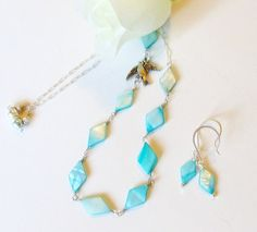 Wire Wrapped Necklace Set Blue Shell  Bird Charm 2 by simplysuzie2, $25.00