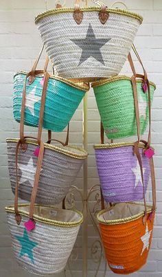 Coloured Beach Baskets Ibiza Style with Star by MariZoli on Etsy