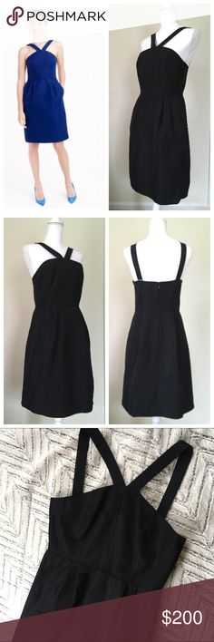 """NWT J Crew black Lexie dress Size 6 Our classic faille has a subtle sheen and a fluid structure that tailors and drapes beautifully. With a timeless silhouette that easily dresses up or down, this dress is a no-brainer for cocktail parties and gallery openings alike. Cotton/viscose. Back zip. On-seam pockets. Lined. Dry clean. Measurements: 16"""" armpit to armpit, 14.5"""" across waist, 37"""" long strap to hem.  A-line silhouette. Interior boning for added support. Falls above knee J. Crew Dresses…"""