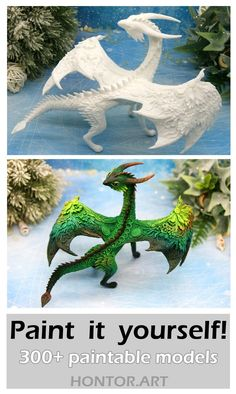 Unpainted fantasy dragons by Evgeny Hontor. Paint it yourself! Paintable Totem dragon Figurine. Animal Sculptures are the best for kids diy and crafts projects. This animal figurine can serve as a decor for flower pots, you can also use this as a 3-D coloring. #resinart #claycrafts #claysculpture #fantasycreatures
