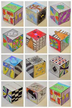 New Hope Art Gallery: Middle School Art: Elements of Art and Principles of Design Cubes Art Education Lessons, Art Lessons For Kids, Kids Education, Middle School Art Projects, Art School, High School, Elements Of Art Space, Elements Of Design Space, Arte Elemental
