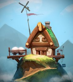 summer house by Alexandr Pushai, via Behance | Would like to make something like that in Blender