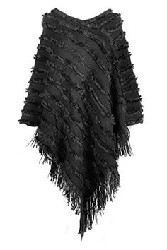 Knit and Faux Fur Poncho with Fringe