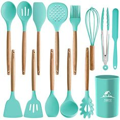 MIBOTE Silicone Cooking Kitchen Utensils Set with Holder, Wooden Handles Cooking Tool BPA Free Non Toxic Turner Tongs Spatula Spoon Kitchen Gadgets Set for Nonstick Cookware (Green) Cooking Utensils Set, Kitchen Utensil Set, Cooking Tools, Kitchen Tools, Kitchen Gadgets, Kitchen Dining, Kitchen Store, Kitchen Items, Diy Kitchen