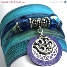 ON SALE Hand Dyed Silk Wrap BraceletBlue Reef by anjalicreations, $34.00