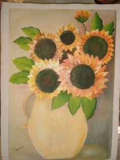 primeira tela de girassois que pintei, com muito medo, mas ;amei.