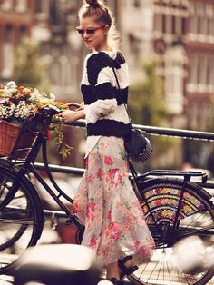 Floral skirt with stripped black and white sweater