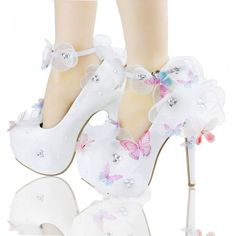 4d03f6320282 Womens Butterfly White Lace Wedding High Heel Bridal Pumps Slip on Shoes  Fashion