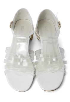 Transparent Top Heeled Sandals in White