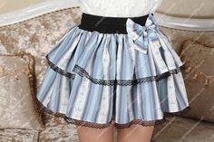 Crown Princess Sweet Little Sky Blue Striped Tutu Lolita Skirt