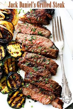 Jack Daniel's Grilled Steak Recipe - New York Strip Steaks marinated in one of the most delicious marinades made with Jack Daniel's Whiskey and Soy Sauce.