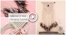 How To Make A Macrame Wall Hanging Dreamcatcher With Feathers Tutorial Photo Wall Hanging, Wool Wall Hanging, Hanging Photos, Jute Crafts, Easy Diy Crafts, Diy Dream Catcher Tutorial, Feather Crafts, Feathers, Journal