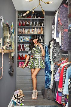 Interior designer Athena Calderone wearing Peter Pilotto in her chic Brooklyn penthouse walk in closet Organizing Walk In Closet, Closet Storage, Closet Organization, Organizing Tips, Organization Ideas, Master Closet, Closet Bedroom, Closet Space, Design Room