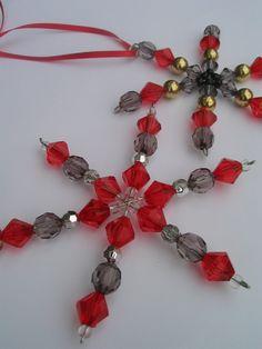 Hand made star beaded Christmas ornaments - set of 2. $4.00, via Etsy.