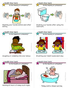 These task cards are a fun and easy way for students to learn and reinforce healthy habits. students view pictures, read sentences, and then determine if Kindergarten Worksheets, Classroom Activities, Learning Activities, Teaching Ideas, Star Cards, Literacy Stations, Character Education, Life Skills, Special Education